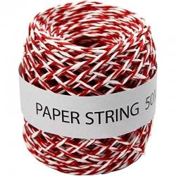 Papierkoord - rood / wit