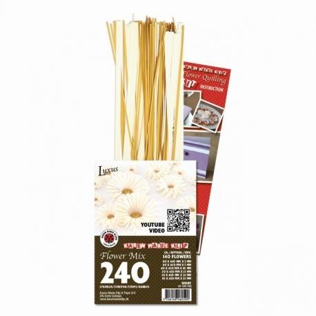 3D Bloemen Quilling pakket - luxe - goud / ivoor