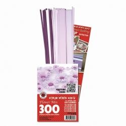 3D Bloemen Quilling pakket - luxe - lila/wit