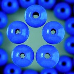 Houten kralen - middel blauw 4 mm