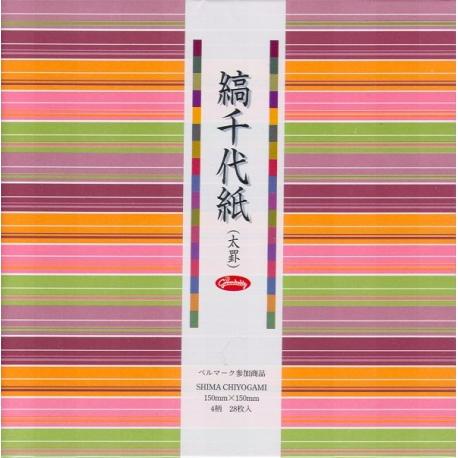 Origami papier 15x15 cm - Shima Chiyogami brede streep