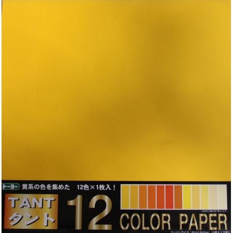 Origami papier 35x35 cm - Tant 12 kleuren Geel