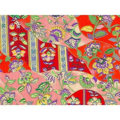 Washi papier motief patchwork en bloemen - JP0651