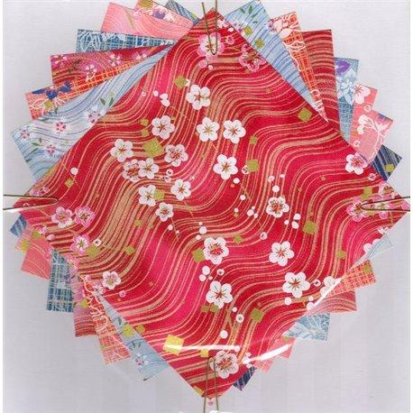 Origami papier 15x15 cm - Washi Yuzen motief Golven en lijnen