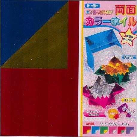 Gekleurd Folie Origami 15x15 cm - tweezijdig