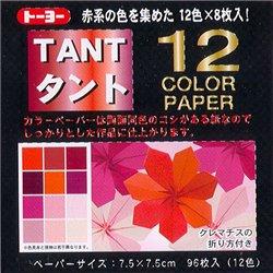 Origami papier 7,5x7,5 cm - Tant 12 kleuren Rood