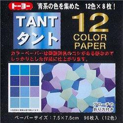 Origami papier 7,5x7,5 cm - Tant 12 kleuren Blauw