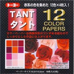 Origami papier 15x15 cm - Tant 12 kleuren Rood