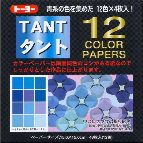 Origami papier 15x15 cm - Tant 12 kleuren Blauw