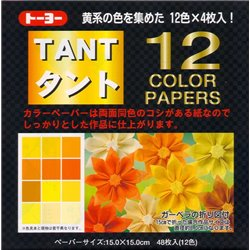 Origami papier 15x15 cm - Tant 12 kleuren Geel