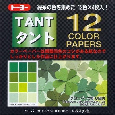 Origami papier 15x15 cm - Tant 12 kleuren Groen