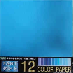Origami papier 35x35 cm - Tant 12 kleuren Blauw