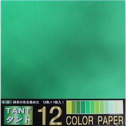 Origami papier 35x35 cm - Tant 12 kleuren Groen