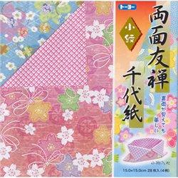 Origami papier 15x15 cm - Dubbelzijdig Yuzen Ryomen