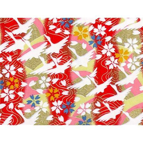 Washi papier motief kraanvogels en sakura bloemen - JP0821