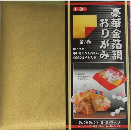 Origami papier 24x24 cm - Goud/Rood