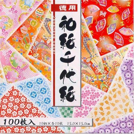 Origami papier 15x15 cm - Yuzen motieven