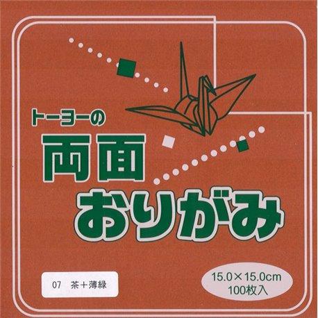 Dubbelzijdig Origami papier 15x15 cm - bruin/groen