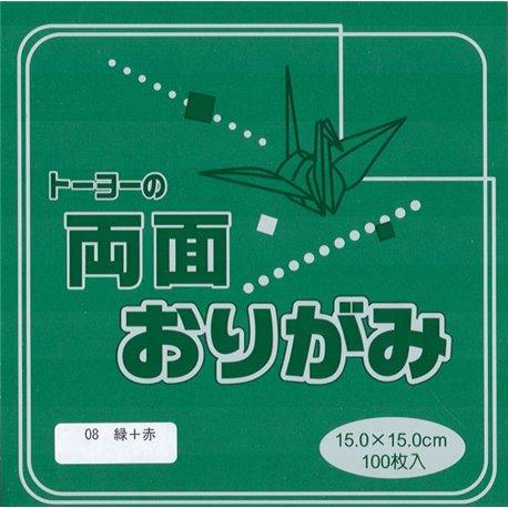 Dubbelzijdig Origami papier 15x15 cm - groen/rood