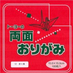 Dubbelzijdig Origami papier 15x15 cm - rood/zwart