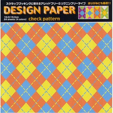 Origami papier 15x15 cm - ruiten (check pattern)