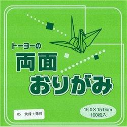 Dubbelzijdig Origami papier 15x15 cm - groen/oranje