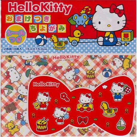 Origami papier 15x15 cm - Hello Kitty (met stickers)