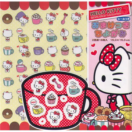 Origami papier 15x15 cm - Hello Kitty (met stickers)