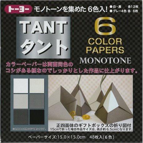 Origami papier 15x15 cm - Tant 6 kleuren Zwart/Wit