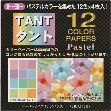 Origami papier 15x15 cm - Tant 12 kleuren Pastel