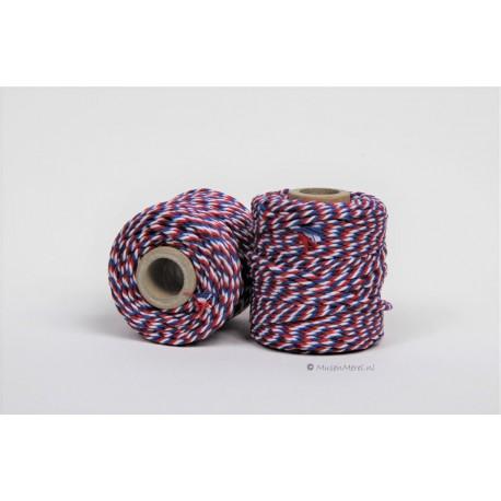 Eco Cotton Twine - Rood/Wit/Blauw - 1 mm