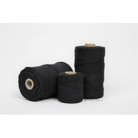 Eco Cotton Twine - Zwart - 2,2 mm